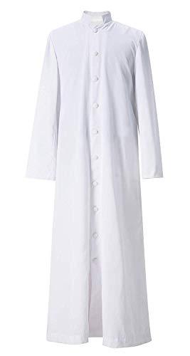 GraduatePro Soutane Priester Männer Klerus Gewand Kanzel Toga Römische Pfarrer für kirchliche Aktivitäten Weiß