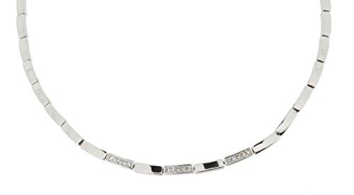 ESPRIT Damen-Ankerkette Edelstahl rhodiniert Zirkonia weiß Rundschliff 42 cm - ESNL12067A420