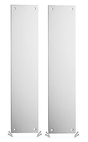 Fire Door Guru Pack of 2 - Aluminium Finger Plate/Push Plate - 350 x 75mm - 1.2mm - Square Corner - Fixings Included - VAT Registered