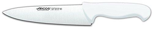 Arcos Serie 2900, Cuchillo Cocinero, Hoja de Acero Inoxidable Nitrum de 200 mm, Mango inyectado en Polipropileno Color Blanco
