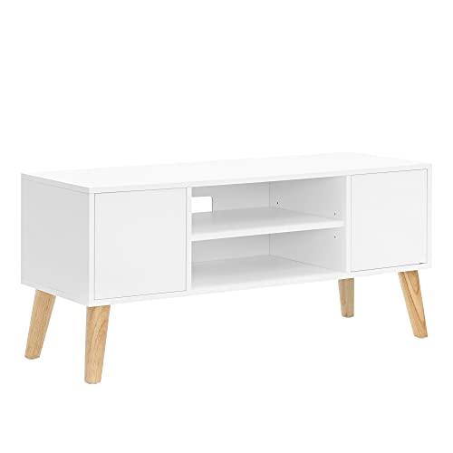 VASAGLE TV-Schrank, TV-Regal, Lowboard, für Fernseher bis zu 43 Zoll, Fernsehtisch, Fernsehschrank, für Wohnzimmer, weiß-naturfarben LTV008W01
