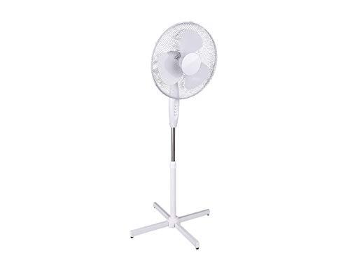 Reality Leuchten R024-01 Ventilator Standventilator, 3-Geschwindigkeiten, Schwenkautomatik, Höhe: 117-140 cm, ø: 40 cm, weiß