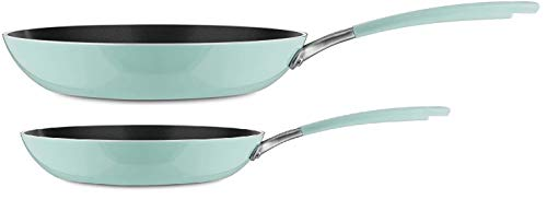 KitchenAid Aluminum Nonstick 10' and 12' Skillets Twin Pack Fry pans, Heavy-Gauge 4.0 Stainless Steel Base Induction Dishwasher Oven Safe, Ice Blue