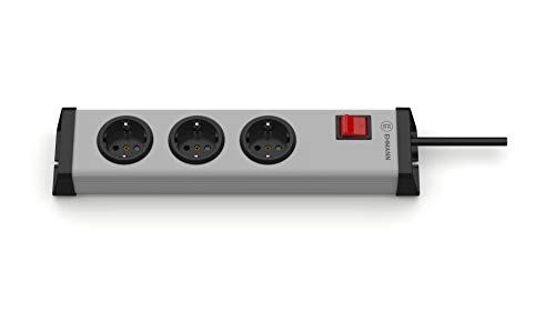 EHMANN 0201x00032301 Steckdosenleiste Universal mit Schalter, 3-Fach, 1,5 m Zuleitung