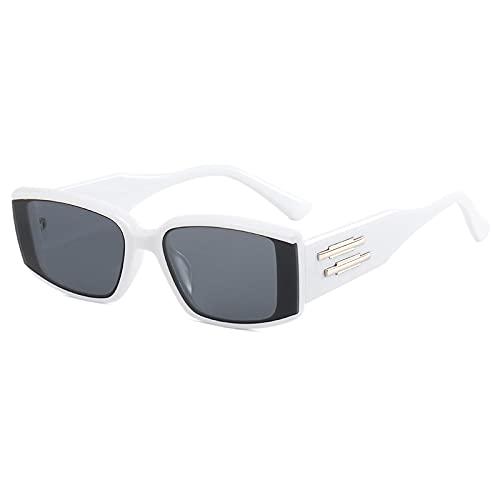 JINZUN Gafas de Sol sin Montura Gafas de Sol de Moda Trend Street Shooting Visera para el Sol Gafas Anti-UV Blanco Real/Gris