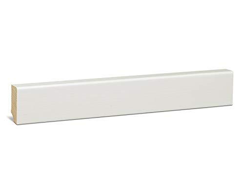 KGM Sockelleiste FSC-zertifiziert – Fußbodenleiste aus Fichte Massivholz – furniert – weiß lackiert – Maße: 2500 x 20 x 46 mm – 1 Stück