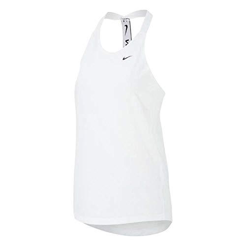 NIKE W NK Dry ESS ELASTIKA Tank Vest, White/(Black), S Womens