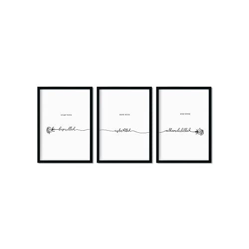 Pinearts Premium Poster Set   Islam Deko   Start with Bismillah   Islamische Dekoration   Deko Wohnzimmer Modern   Moderne Bilder mit Sprüchen   Islamic Wall Art   3x Kunstdruck A4   OHNE RAHMEN