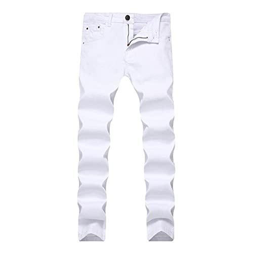 Ocuhiger Pantalones Vaqueros Ajustados Y Rectos Ajustados para Hombre Pantalones De Mezclilla Clásicos Casuales Elásticos Pantalones Elásticos Lavados Vintage De Moda Blanco