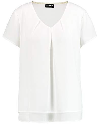 Taifun Damen Blusenshirt Mit Kurzem Arm Figurumspielend Offwhite XL