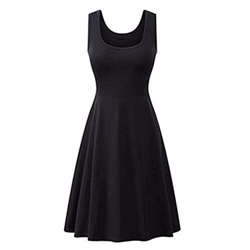 Zhihui Vestido de verano para las mujeres más tamaño casual sexy color sólido cuello en U sin mangas una línea de vestido largo