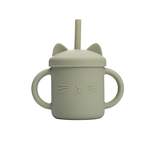 YTNGYTNG Straw cup 1pcs Feeding Cup Cute Cat Sippy Cup Silicone Learning Drinkwarbpa Free Children Soft Straw Mugs (Farbe : Bean Green 2)