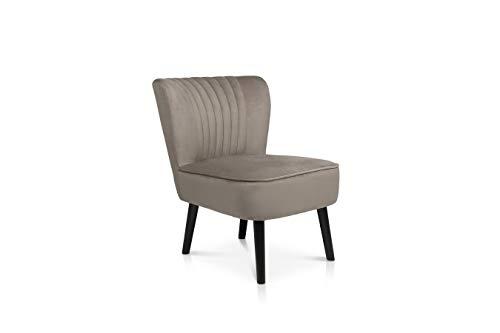 LIFA LIVING Vintage Polstersessel Samt, Esszimmerstuhl in Beige gepolstert, Samthocker Sessel für Küche, Wohnzimmer, schwarzes Holz, 100kg Belastbarkeit