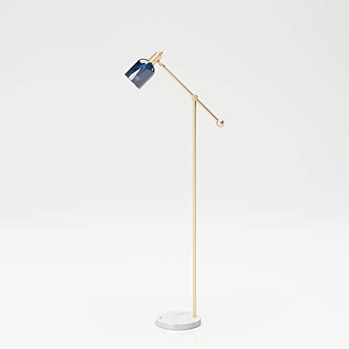 PLAYBOY Stehlampe, Leselampe mit Mamorfuss, goldenem Ständer un grauem Lampenschirm aus Glas im Retro-Design, geeignet als Lese- oder Dekolampe, Schreibtischlampe, Wohnzimmerlampe, Marmor, Gold, Grau