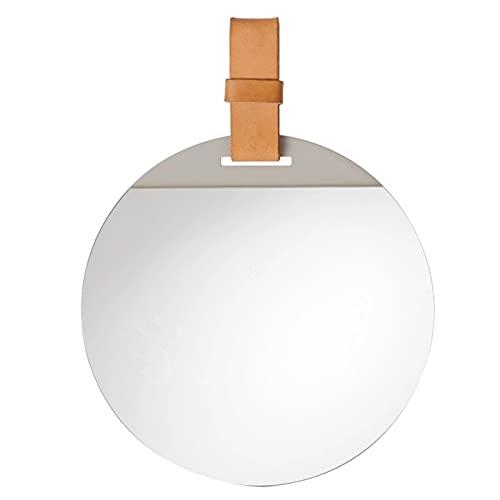 Retro Rund Badrumspegel Väggmonterad Sminkspegel Vardagsrum Dekorativ Spegel Med Läderband För Hall, Vardagsrum, Hotell