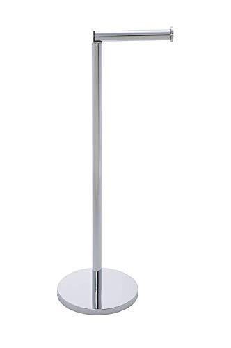 WENKO 19637100 Portarrollos de pie 2 en 1 para baño, Acero inox, 17 X 21 X 55 cm, Brillante
