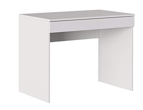 Iconico Home MIK, Scrivania con cassetto, Moderno, Tavolo ufficio a casa, Studio, Porta PC, 100x55,5x76 cm, Bianco