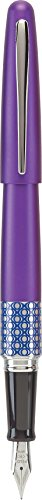 PILOT MR Retro Pop Collection Fountain Pen in Gift Box, Purple Barrel with Elipse Accent, Fine Point Stainless Steel Nib, Refillable Black Ink (91434)