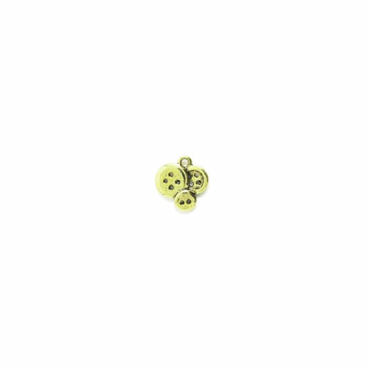 Shipwreck Beads Pewter Buttons Charm, Antique Gold, 15 by 15mm, 6-Piece