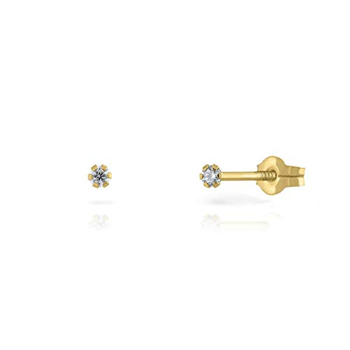 Pendientes Oro de Ley Certificado/Niña/Mujer. Garra circón.Cierre de presión. Medida 2 mm. (4-3351-2)
