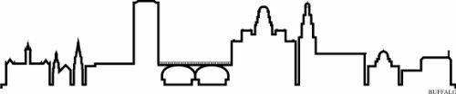 INDIGOS UG – Sticker mural autocollant – Sticker mural – F1260 Skyline Ville – Buffalo (États-Unis – United States) Design 4–60 x 12 cm – Noir – Décor