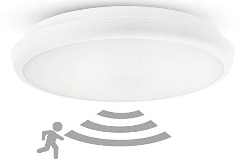 HUBER HML 21 HF LED Leuchte mit Bewegungsmelder 360° für innen und außen I 21W 2000 lm Deckenlampe mit Bewegungsmelder I IP54 I Deckenleuchten Lampe