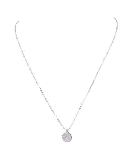 SIX Damen Halskette, Gliederkette, Silver Coated, Anhänger, Kreis, A, Silber (779-954)