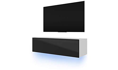 TV Schrank Lowboard Hängeboard Simple mit LED Blau (Weiß Matt/Schwarz Hochglanz 140 cm)