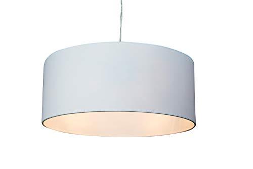 anTes interieur Hängeleuchte Circulo 3-flammig weiß mit 3 x LED-Leuchtmittel/Ø 50 cm/Metall verchromt/Stoffschirm (Pendelleuchte Hängelampe Deckenlampe Pendellampe Deckenleuchte)