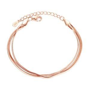 Pulseras de moda femenina de color oro rosa temperamento elegante tres líneas cadena de hueso de serpiente color plata pulsera elegante pulsera de joyería (Color del metal: oro rosa)
