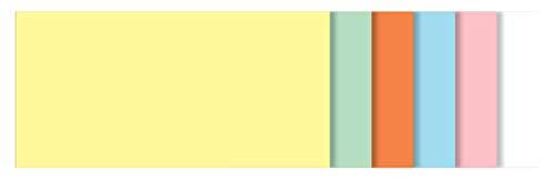 SIGEL MU100 Tarjetas de moderación para pizarras meet up y Artverum, forma rectangular, lote de 6 colores (amarillo, verde, naranja, azul, rosa, blanco), 10x20 cm, 250 unidades