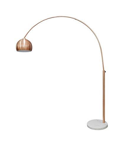 LaNatura Bogenlampe Kupfer Marmorfuß Kunststoff Weiß