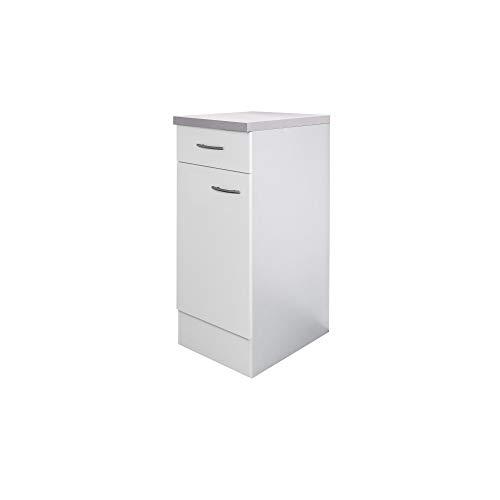 *Flex-Well Küchenschrank UNNA | Unterschrank | 1-türig, 1 Schublade | Breite 30 cm | Weiß*