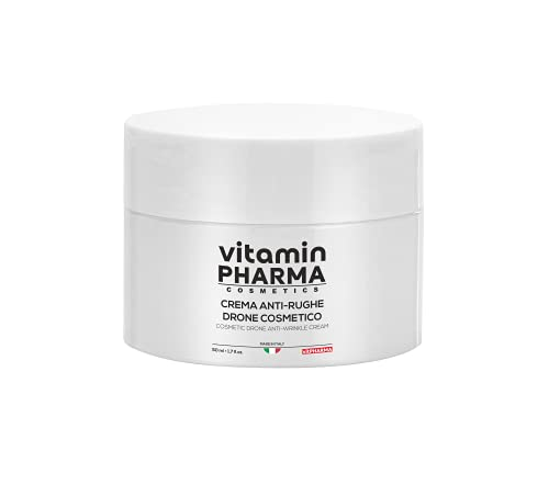 CREMA VISO ANTI-RUGHE DRONE COSMETICO vitamin PHARMA, 50 ml, a base di X50 Anti-aging  e Nuovo Acido Ialuronico, formulazione Brevettata e Testata Clinicamente, Made in Italy