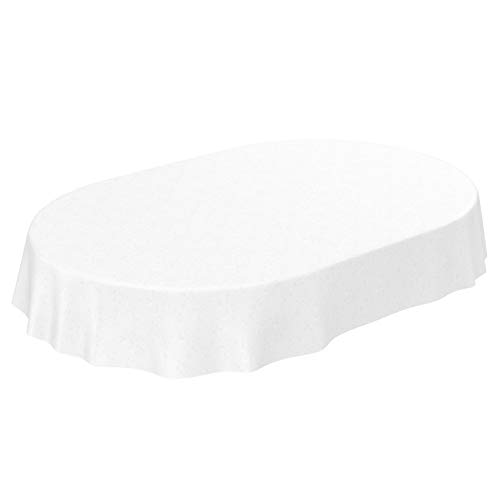 ANRO - Tovaglia Cerata in Tela Cerata, Motivo Floreale, Tinta Unita, Bianco, Ovale, 220 x 140 cm, 140 x 220 cm