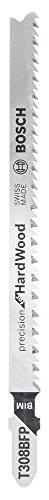 Bosch Professional 3 Stück Stichsägeblatt T 308 BFP Precision for Wood (für Holz, Länge 117 mm, Zubehör Stichsäge)