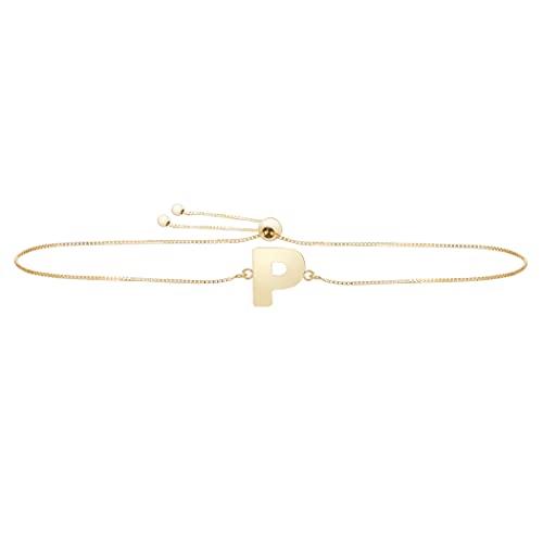 Pulsera de oro amarillo de 14 quilates con nombre de letra pulido, personalizada, monograma inicial p con cierre de cuerda, regalo para mujer – 23 centímetros