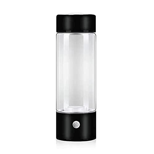 WJYZYHM Botella de Agua de 420 ml de hidrogen de Vidrio con Tapa de Acero Inoxidable Taza de energía alcalina Generador de Agua ionized (Color : Black)