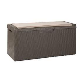 Toomax Baule Portonovo da Giardino 340L con Seduta e Cuscino, Finitura Legno e midollino. Dim. 123x54x59, Colore Marrone