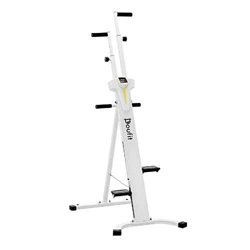 Vertical Climber Exercise Machine, Doufit CM-01 Folding Climbing Machine for Home Workout, Fitness Stair Climber with LCD Monitor (Large)