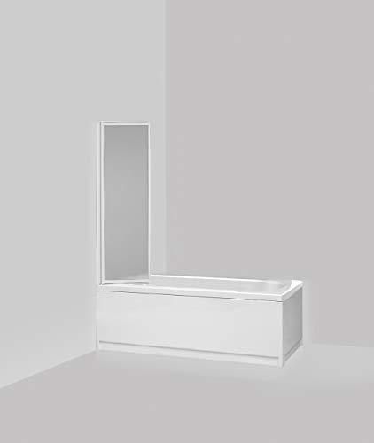 Giava G01/13 - Mampara para bañera con 1 Panel Plegable, 60 x 130 cm, de Aluminio Blanco, Placa de poliestireno, Efecto Burbujas