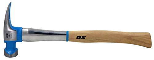 OX Tools Pro Hickory Hammer, Steel Reinforced, Claw, Framing, 22 Oz, Hickory Handle with Milled Face (OX-P083522)