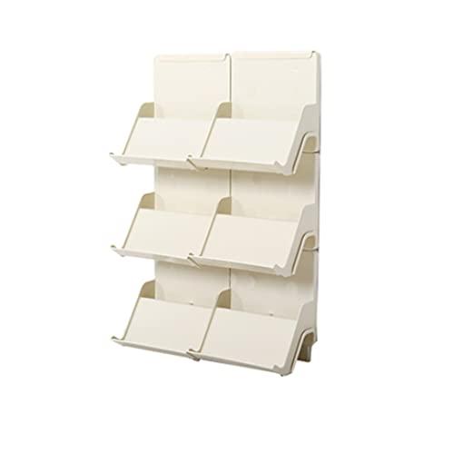 QIFFIY El zapatero se puede apilar en varias capas de plástico para el hogar, bandeja de almacenamiento para zapatos para organizar el armario (color: albaricoque, tamaño: 6 unidades)