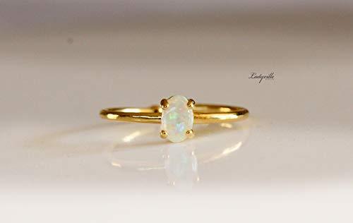 Himmlischer Ring mit Opal echt vergoldet/Opal Schmuck/Geschenk für sie/edelstein ring/opal ring/brautschmuck/valentinstag