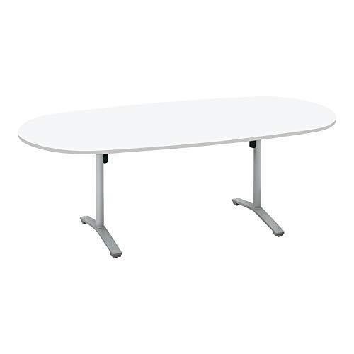 コクヨ ミーティングテーブル ビエナ フラップタイプ 楕円形 T字脚 塗装脚 幅210×奥行105cm キャスター仕様 ホワイト/フラットシルバー