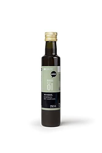 Wohltuer Aceite de nim orgánico, 250 ml, prensado en frío y puramente vegetal, para cosméticos, repelente de insectos, cuidado de plantas