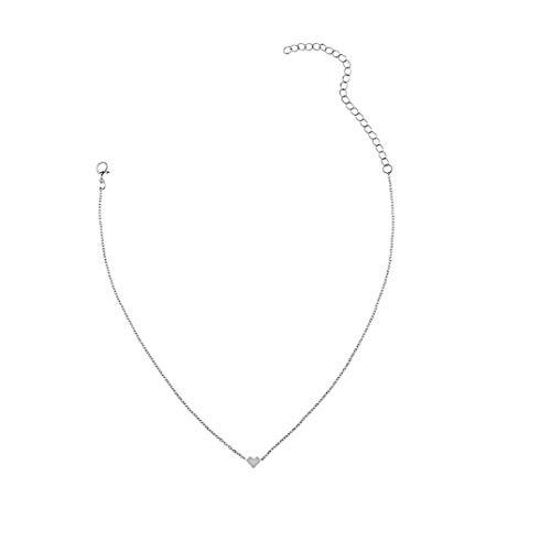 Heall Las Mujeres Collar de Plata del corazón clavícula Collar de Plata Collar en Forma de corazón Colgante de Collar de clavícula para la decoración de la joyería de Plata Las Mujeres
