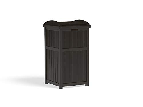 Suncast 33 Gallon Can Resin Outdoor Trash Hideaway with Lid Use in Backyard, Deck, or Patio, Brown