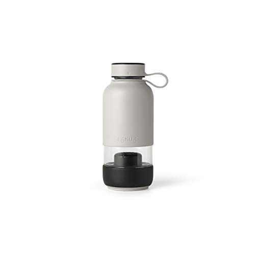 Lékué Botella Vidrio con Funda de Silicona y Filtro para Agua, Gris, 500 ml