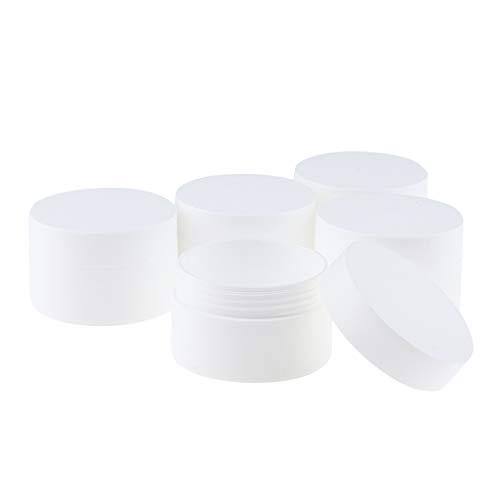 perfeclan 5pcs Pot Cosmétique Vides en Plastique Stockage Crème avec Capuchons Blanc - 50g